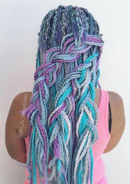 unicorn hair box braids styling