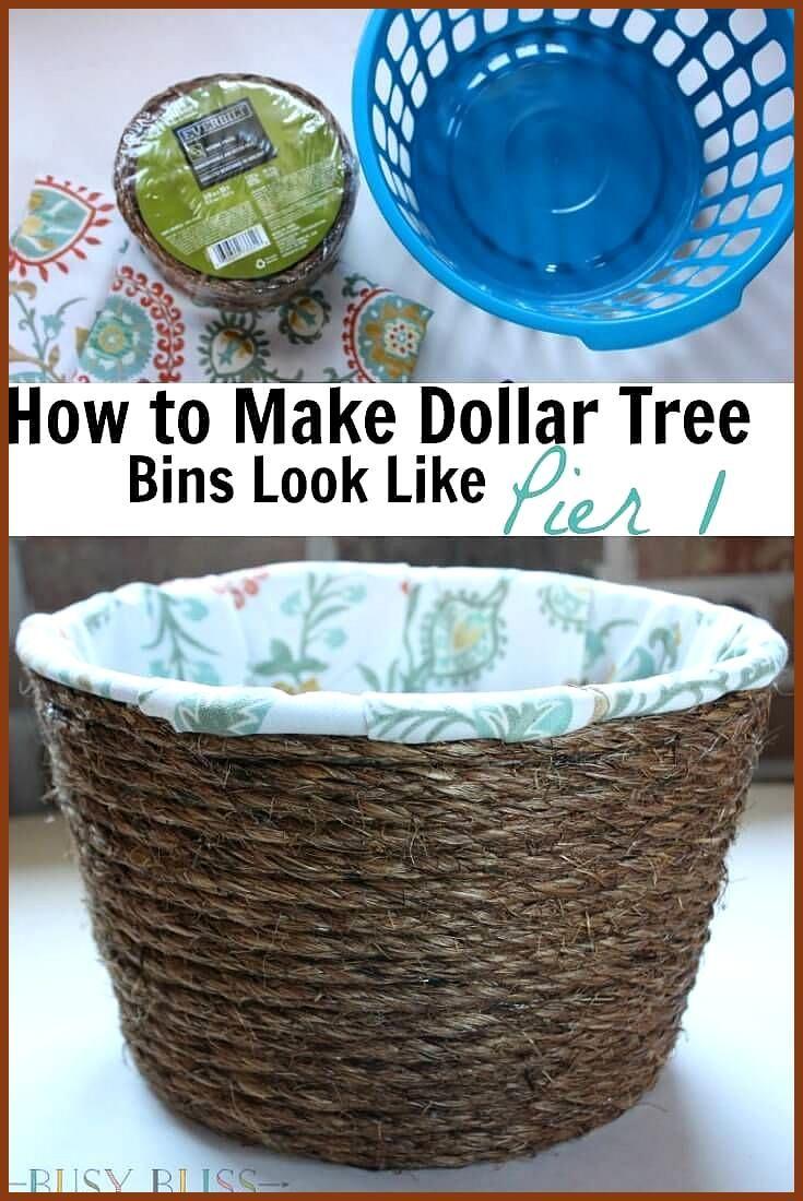 How To Make Dollar Tree Storage Bins Look Like Pier 1 Turn Cheap Dollar Tree Storage Bins Into Lined Woven In 2020 Dollar Tree Storage Bins Dollar Store Diy Cheap Diy
