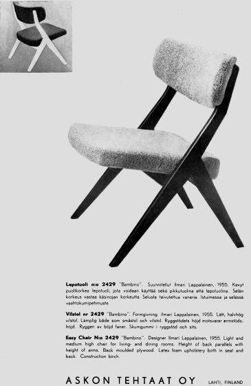 Asko, made in Finland, designer Ilmari Lappalainen
