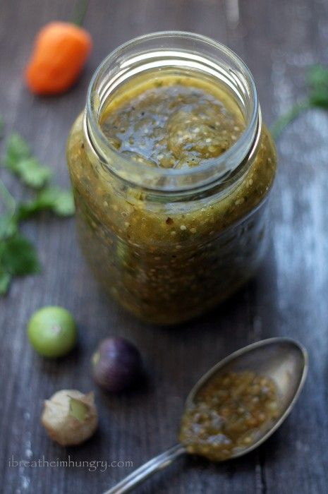 Spicy Salsa Verde // low carb, gluten free, only 4 ingredients via i breathe i'm hungry
