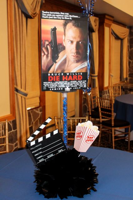 Movie Cover Centerpiece with Pop-Out Clapboard & Popcorn
