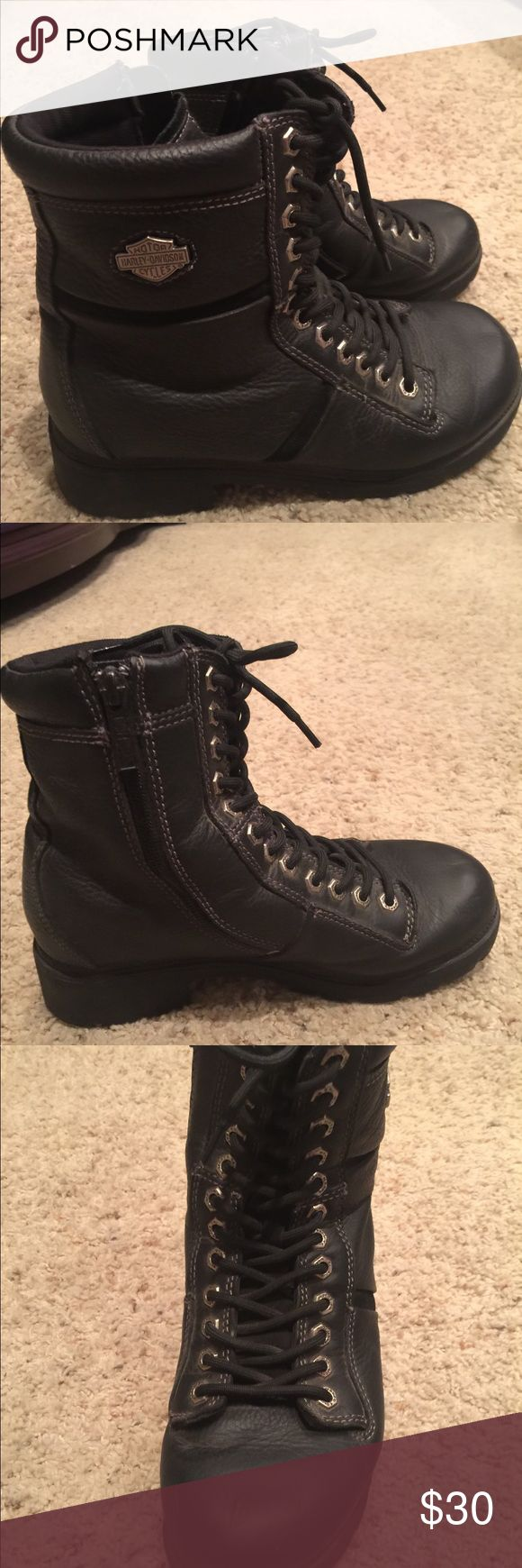 Harley Davidson Ladies Riding Boots 8-1/2 Black leather Harley Davidson ladies riding boots.  Gently used, in great condition. Harley-Davidson Shoes Combat & Moto Boots