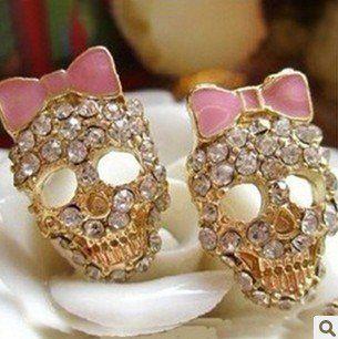 Ювелирные изделия полный череп розовый бант серьги. 36 pair/lot