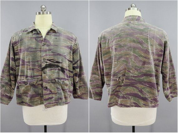 1ad20f554be01 Vintage Tiger Stripe Camo Jacket, Vietnam War Jungle Camouflage, Special  Forces Ranger LRRP Team Adv in 2019 | Products | Camo jacket, Camo, Tiger  stripes