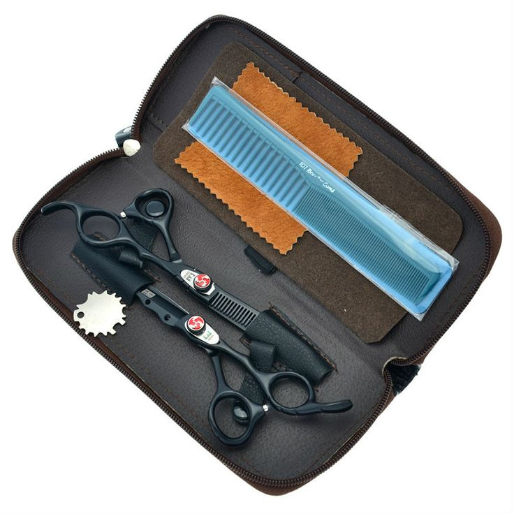 "6.0"" Flame Screw Black Hair Scissors Salon Cutting & Thinning Hair Shears Kit Hairdressing Set JP440C, LZS0168"