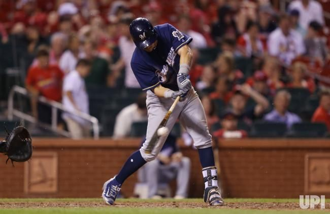 Milwaukee Brewers Hernan Perez connects for a RBI double in the seventh inning against the St. Louis Cardinals at Busch Stadium in St.…
