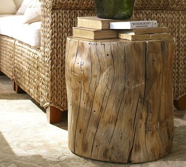 i love the look of these natural wood stump type side tables.Nature Wood, Side Tables, Barns 199, Leather Couch, Living Room, Logs Tables, Natural Wood, Pottery Barns, Wood Stumps