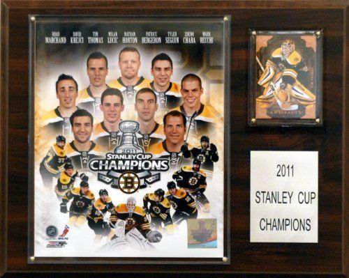 "NHL Boston Bruins 2010-2011 Stanley Cup Champions Plaque by C Collectables. Save 17 Off!. $23.24. The 2009-2010 Stanley Cup Champion Boston Bruins are celebrated on this commemorative 12""x15"" plaque, featuring a licensed 8""x10"" photo, an engraved nameplate, and an officially licensed trading card of the team's star. A superior, high-clarity acrylic lens cover, firmly affixed to the plaque with brass-type screws, protects the photo. The polished look makes for a well-c..."