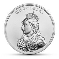 Jadwiga Andegaweńska - patronka Polski na monecie z czystego srebra.