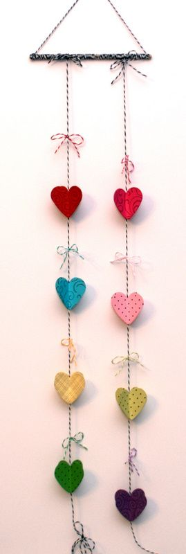 Hearts and Twine   The Twinery - I love the different colors and twine. Would look lovely on a door.