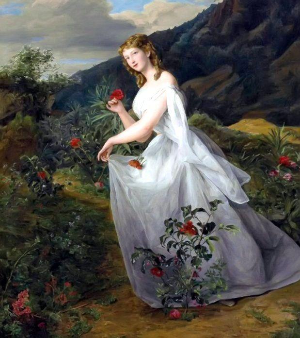 Waldmüller, Ferdinand Georg (b,1793)- Lady in White Dress, 1842 -2b