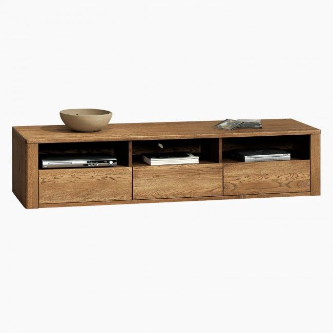 Orlando Solid Oak TV Unit With 3 Drawers