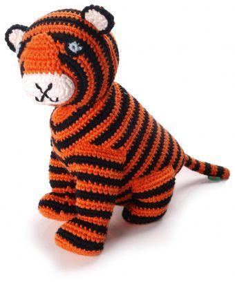 Cute Stripy Tiger Orange/Black Stripes Pebble - Rattles & Soft Toys
