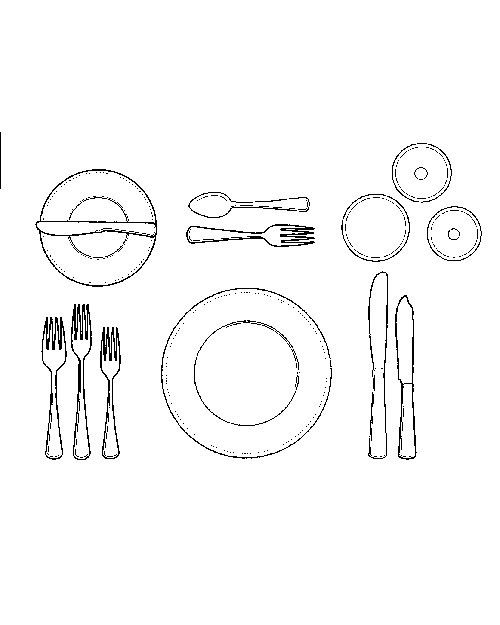 A midsize plate arrives bearing the fish course. Use the short, broad fork at outer left and the fish knife at outer right. When they have finished this, or any other, course, guests should place their silverware diagonally across the plate -- handles at 4:20 and knife blade facing in.