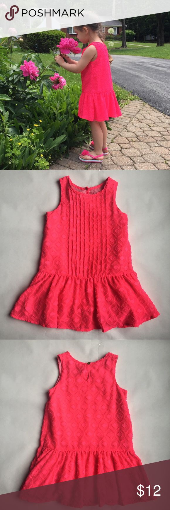⭐️HOST PICK⭐️Genuine Kids by OshKosh Dress  3T Like new, super cute Genuine Kids by OshKosh Hot Pink dress. A bit above casual. Textured fabric, pleated look front, keyhole button closure at back. Lined. Toddler size 3T.🌺 Genuine Kids by OshKosh Dresses Casual