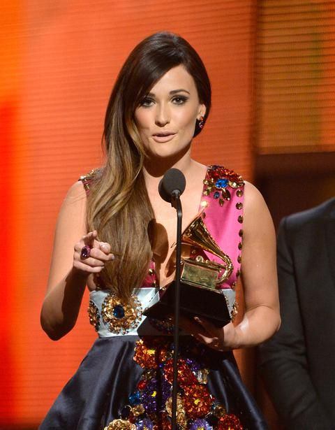 ❦ LOS ANGELES, CA - JANUARY 26: Musician Kacey Musgraves accepts the Best Country Album award for 'Same Trailer Different Park' onstage during the 56th GRAMMY Awards at Staples Center on January 26, 2014 in Los Angeles, California. (Photo by Kevork Djansezian/Getty Images)