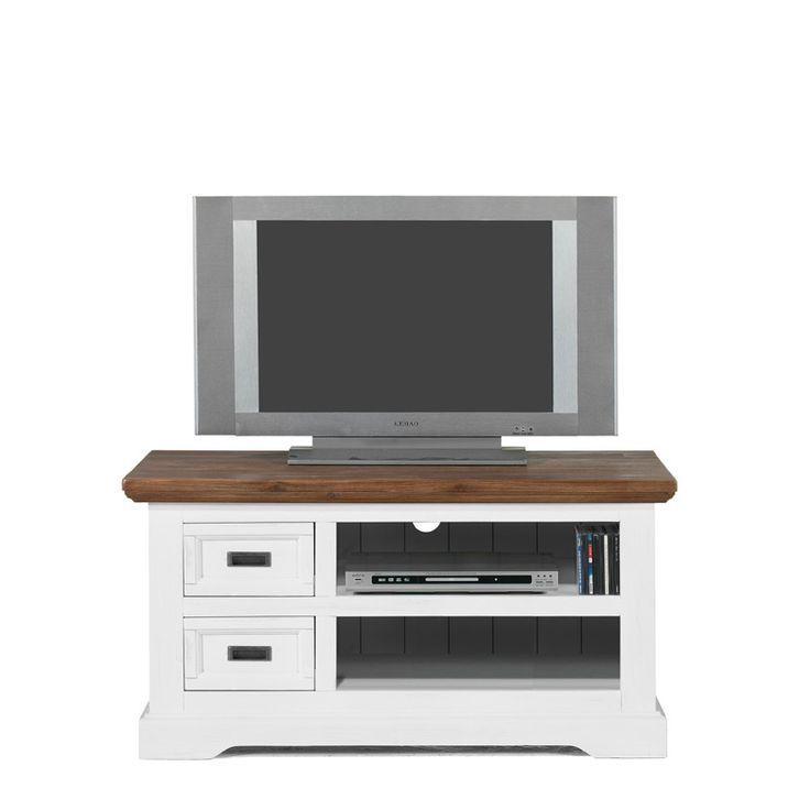 Meubels | Kasten | Surrey (120cm), TV Meubel, White, Wenge top, Acacia hout - De Bommel Meubelen
