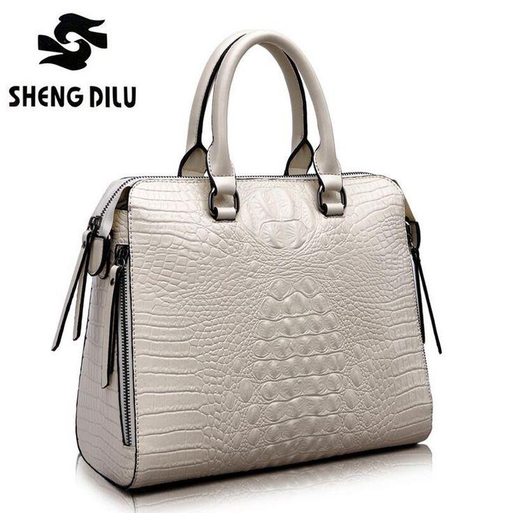 Aliexpress 2017 Fashion Crocodile Women Genuine Leather Embossed Bag Famous Designers Brand