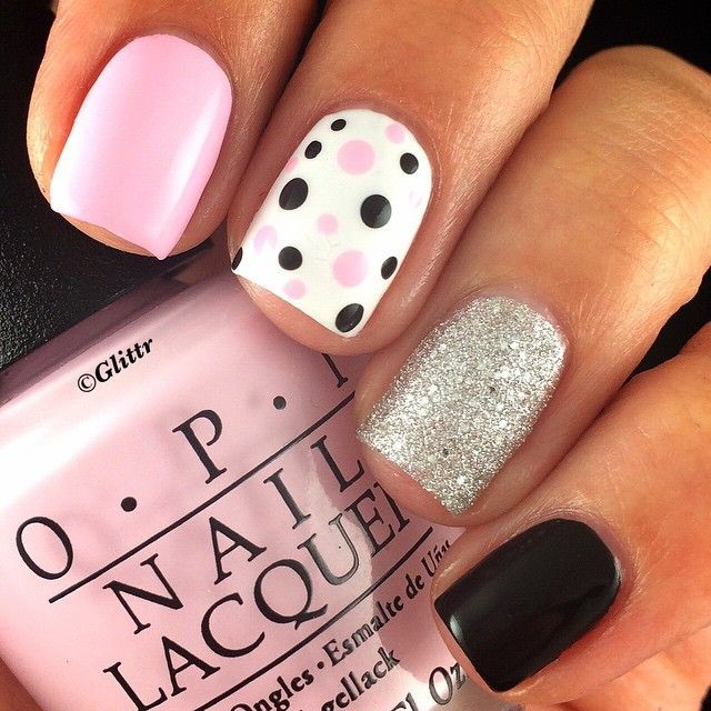 Best 25 pink black nails ideas on pinterest black pink pink black white and silver mix match mani prinsesfo Gallery