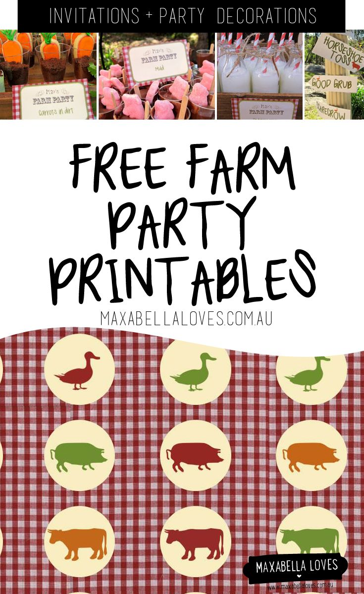 Free Farm Party printables - invitations and party decorations to download and print