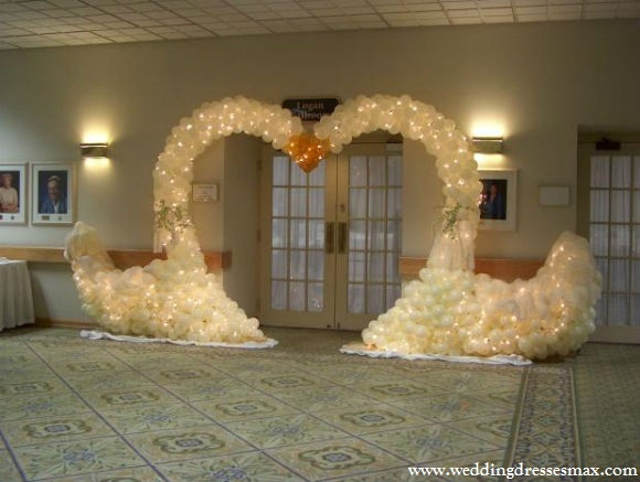 Wedding reception with unique balloon decorations wedding dresses