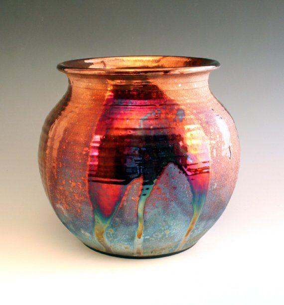 Copper contrast raku pot raku potterypottery artslab