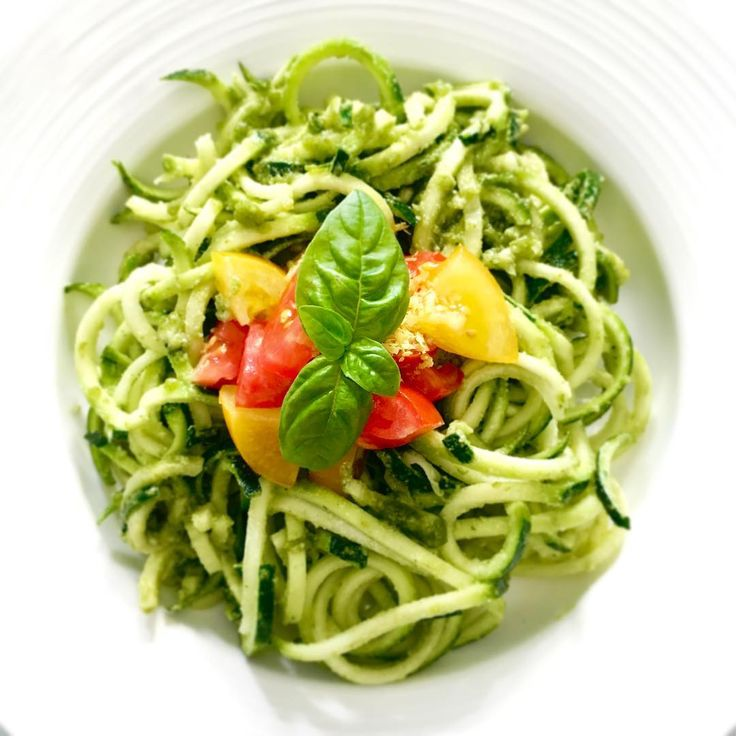 Basil Pesto Zucchini Noodles  Raw, vegan and filling, it's like a big bowl of pasta but without the starch and with loads of nutrients.