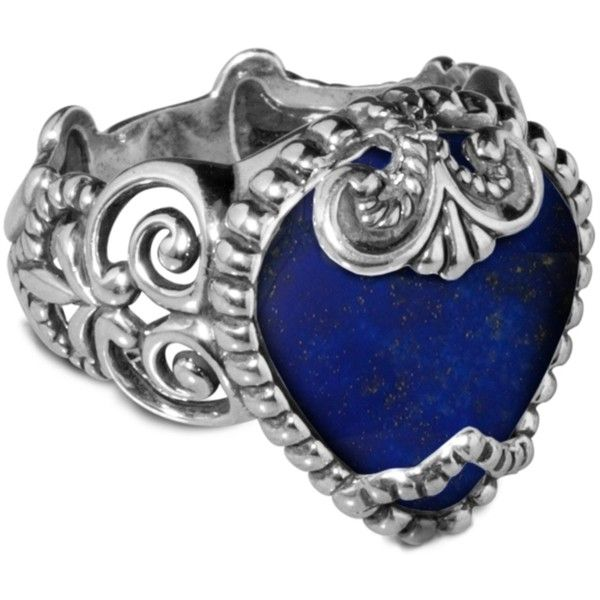 Carolyn Pollack Jewelry Sincerely Fabulous Lapis Bold Ring ($99) ❤ liked on Polyvore featuring jewelry, rings, cabochon jewelry, fleur de lis ring, wide-band rings, cabochon rings and blue jewellery