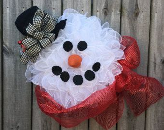 Snowman Wreath Frosty Christmas Wreath by JuliesWreathBoutique