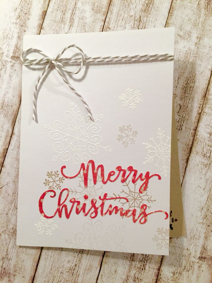 Merry Christmas Card with embossed snowflake