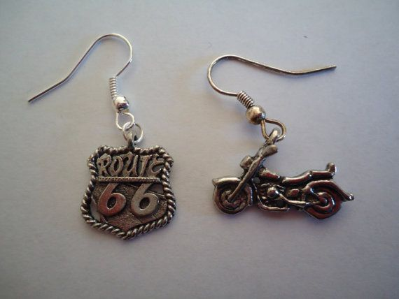 Route 66 & Motorcycle mismatch earrings by DifferentCharms on Etsy, $8.00