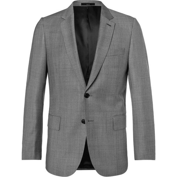 Paul Smith Grey Soho Wool-Sharkskin Suit Jacket (3,900 SAR) ❤ liked on Polyvore featuring men's fashion, men's clothing, men's outerwear, men's jackets, mens gray leather jacket, mens grey jacket, mens grey wool jacket, mens wool jacket and mens wool outerwear