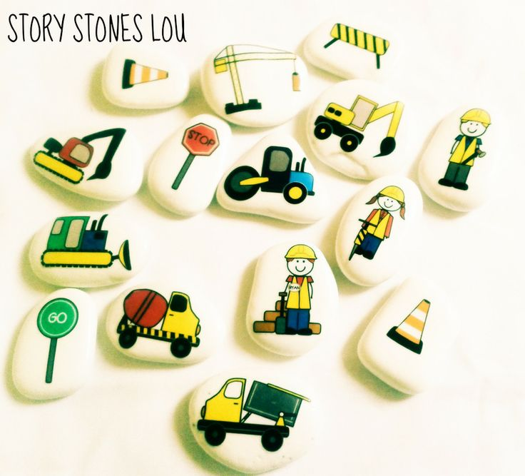 construction story stones by story stones lou. www.etsy.com/uk/shop/storystoneslou