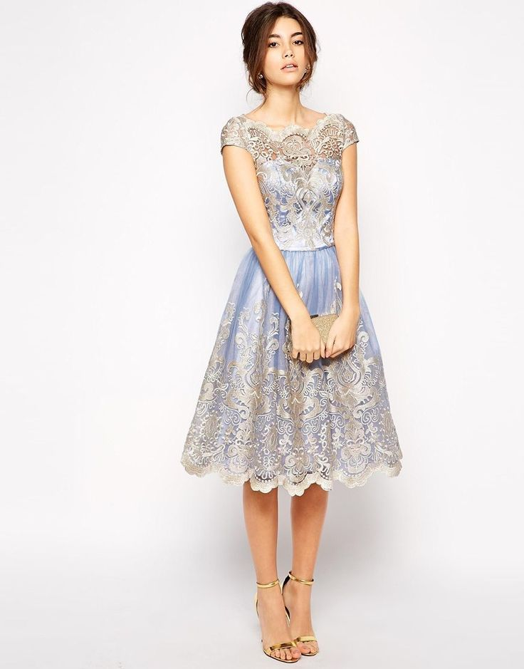 Chi chi London Elsa Dress Cornflower Blue/Gold US Size 8. By Chi chi London. Wedding Guest, Tulle, Lace, Midi, Bardot Neck. Only $150.00! Available @ TrendTrunk.com