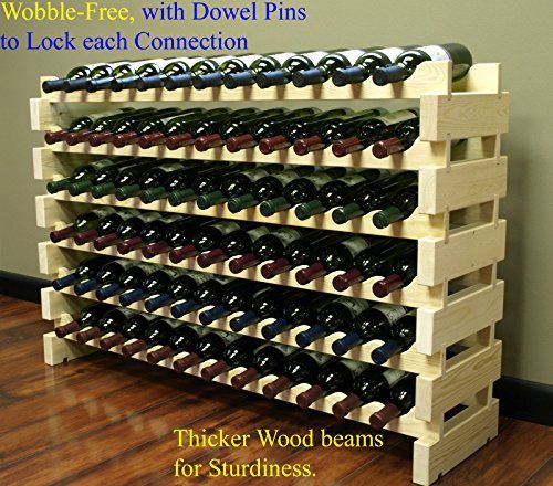 Stackable Modular Wine Rack Stackable Storage Stand Display Shelves, Wobble-Free, Pine wood, (72 Bottle Capacity, 6 rows x 12) - Hand made pine wood modular wine rack. Manufactured from pine wood. Our stackable modular wine racks are the most versatile and can be easily assembled. No tool is required, takes only 5 minutes. Natural wood color. This configuration is for the 12 bottles wide by 6 shelves high racks, giving you...
