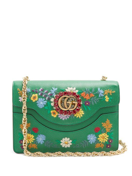 63f7fba04d01 GUCCI Floral-embroidered leather shoulder bag.  gucci  bags  shoulder bags   crystal  suede  lining