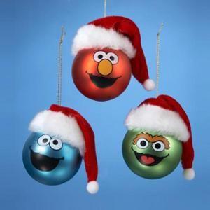 "24ct Sesame Street Characters Glass Christmas Ball Ornaments 2.5"" (60mm)"