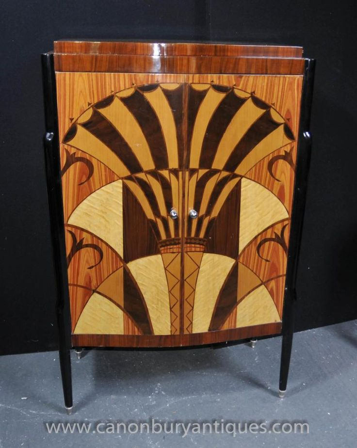 Amazing Art Deco Cocktail Cabinet Drinks Chest Inlay Furniture