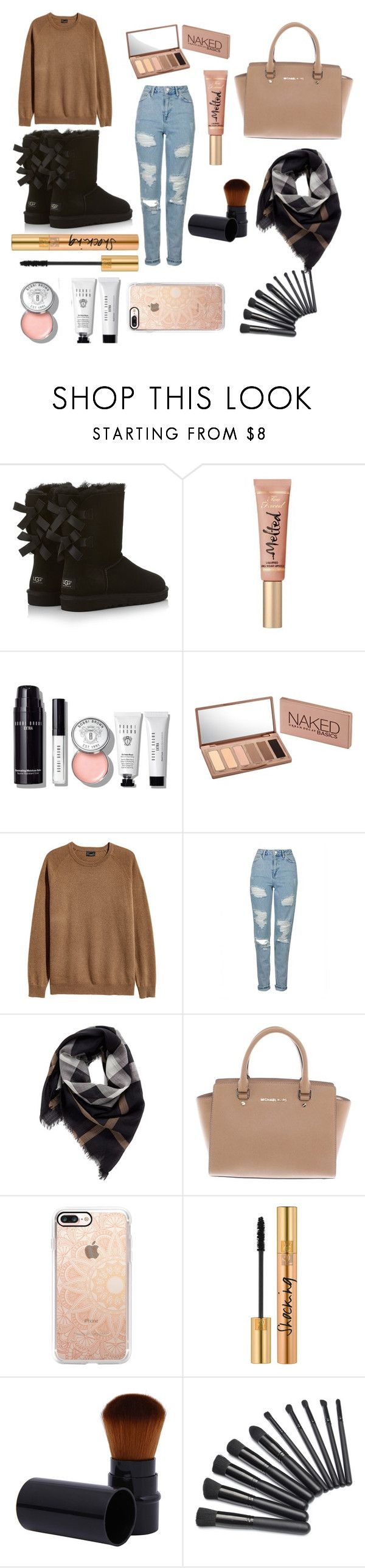 """""""Shocking"""" by jxstme ❤ liked on Polyvore featuring UGG Australia, Too Faced Cosmetics, Bobbi Brown Cosmetics, Urban Decay, Topshop, Burberry, Michael Kors, Casetify and Yves Saint Laurent"""