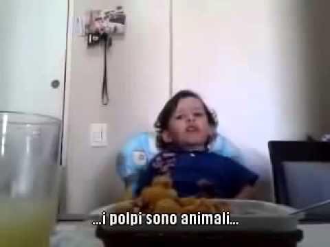 Il discorso del bimbo che non vuole mangiare il polpo e che commuove il web