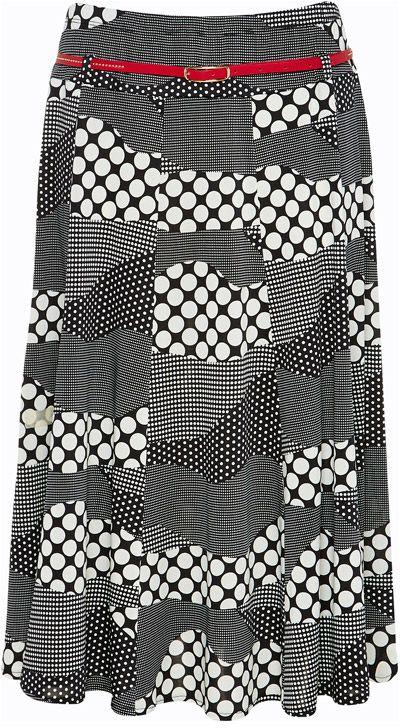NONI B Print Jersey Panel Skirt $79.95 AUD  Pull on elastic waist print skirt with red belt, length 70cm 94%Polyester 6% Elastane  Item Code: 047172