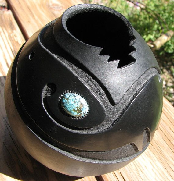 Decorative GOURD! In the Southwest Style of hand-carved Santa Clara, New Mexico, pottery. Deep Carved Black-on-Black. Avanyu with Turquoise....