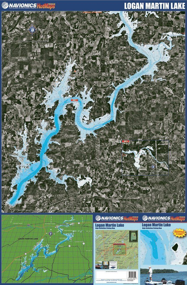 Navionics Paper Map Logan Martin Lake Alabama Travel