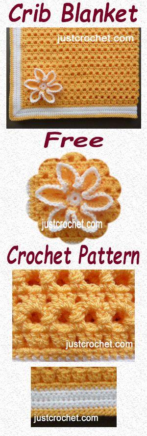 Free crochet pattern for crib blanket. #crochet