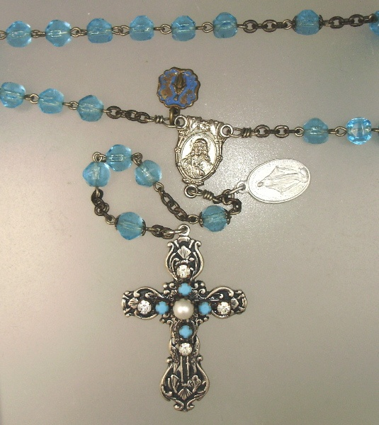 ANTIQUE French TURQUOISE Rosary Beads CROSS Religious Medals-n-tq4c