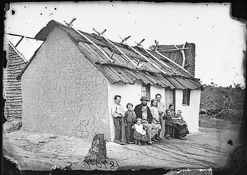 Couple with seven children in front of their cottage with bark roof, Hill End, 1871-1875 / American & Australasian Photographic Company