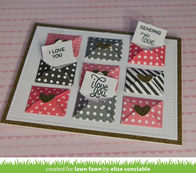 Happy Mail; Love Letters _ from the Lawn Fawn blog: Secret Love Notes Card by Elise!