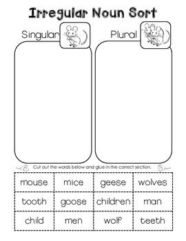 Printables Irregular Plural Nouns Worksheet 1000 ideas about irregular plural nouns on pinterest noun sort cut and paste freebie