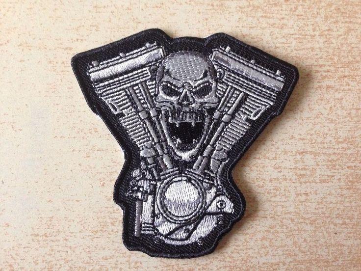 écusson patch motard biker moteur motor skull tête de mort 7,5x7,5 cm