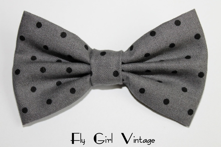 Vintage 1950's Style Hair Bow Clip- Grey-Black-Polka Dot- Fabric Hair Bow-Rockabilly-Pin Up- Mod- For Women, Teens, Girls-Punk-Goth. $4.00, via Etsy.